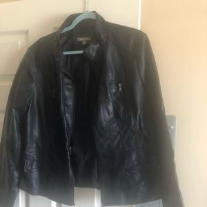 Navy Blue faux leather jacket